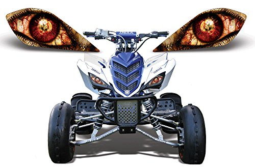 AMR Racing ATV Headlight Eye Graphic Decal Cover for Yamaha Raptor 700/250/350 - Zipped (700 Raptor Headlights compare prices)