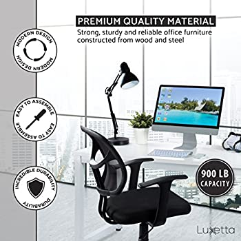 """Office Computer Desk – 55"""" White Laminated Wooden Particleboard Table and White Powder Coated Steel Frame - Work or Home – Easy Assembly - Tools and Instructions Included – by Luxxetta"""