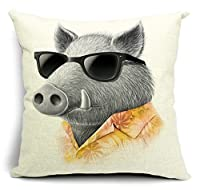 Bumud Cotton Linen Animal Square Decorative Throw Pillow Case Cushion Cover (Pig)