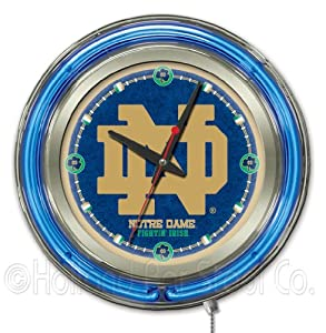 Notre Dame Fighting Irish Logo Neon Wall Clock by Holland Bar Stool Company