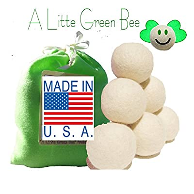 Six Eco-friendly 100% Wool Dryer Balls with Free Eco-felt Gift Bag, Handmade in America , 100% Premium Wool, Xl, Natural and Unscented