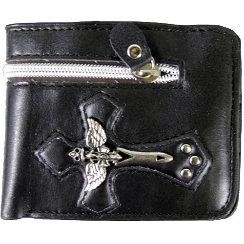 Black Skull Wings & Dagger Cross Leather Bi Fold Biker Wallet