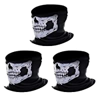 eBoot 3 Pack Black Seamless Skull Face Tube Mask Motorcycle Face Mask by eBoot