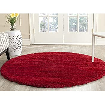 "Safavieh Milan Shag Collection SG180-4040 Red Round Area Rug (51"" Diameter)"