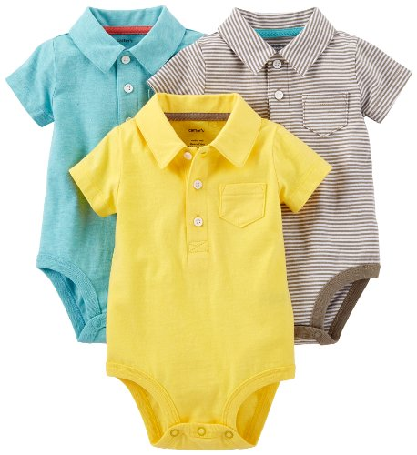 Carter'S Baby Boys' 3 Pack Polo Bodysuits (Baby) - Assorted - 3 Months front-178029