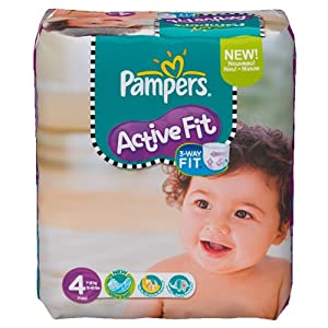 Pampers Active Fit Couches Pack Economique 1 Mois de Consommation x 168 Couches Taille 4 7-18 kg