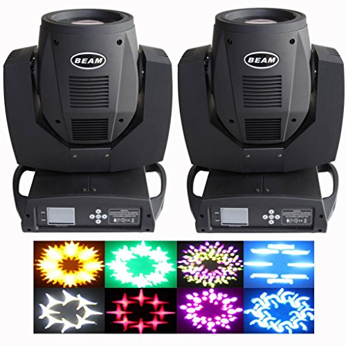 Yiscortm Stage Lighting Beam Moving Head Spot Light 230W Osram 7R Bulb Touch Screen Dmx512 For Xmas Christmas Birthday Home Garden Party Wedding Dj Club Disco Effect - Black (Pack Of 2)