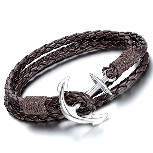 Flongo Bracciale Braccialetto Retro Tessere da Mano Multi Strati Ancora Decorato in Pelle Leather