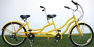 "Bct-709i 26"" 2 Seater Tandem Bicycle Beach Cruiser Bike - Yellow"