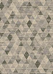 Area Rug, Cream/Multi-Colored Geometric Diamonds Stain Resistant Carpet, 6\' 7\