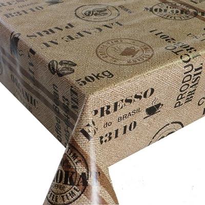 Wachstuch Breite 100 cm Länge wählbar - Kaffeesack Braun Beige Lebensmittelecht Kaffee - Main abwaschbare Tischdecke Gartentischdecke von DHT-WT100cm - Gartenmöbel von Du und Dein Garten