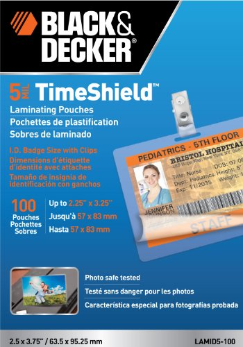 Black and Decker TimeShield Thermal Laminating Pouches, ID Badge with Clips, 5 mil - 100 Pack (LAMID5-100)