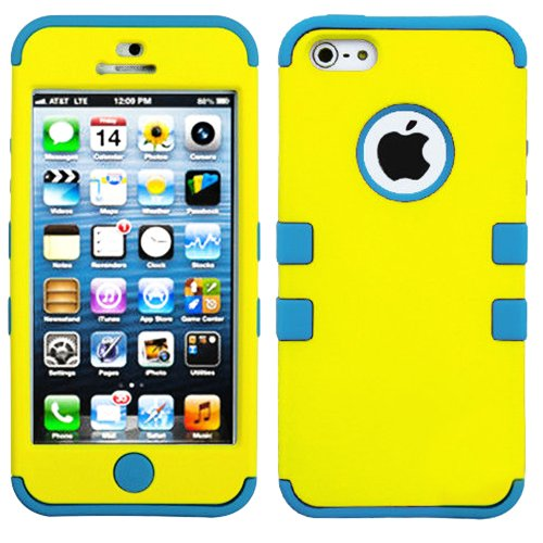 Mylife (Tm) Sky Blue And Yellow - Colorful Robot Series (Neo Hypergrip Flex Gel) 3 Piece Case For Iphone 5/5S (5G) 5Th Generation Itouch Smartphone By Apple (External 2 Piece Fitted On Hard Rubberized Plates + Internal Soft Silicone Easy Grip Bumper Gel +