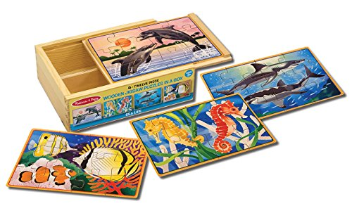 Melissa & Doug Wooden Jigsaw Puzzles in a Box - Sea Life