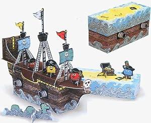pirate monster ship cardboard cut out craft kit toys games. Black Bedroom Furniture Sets. Home Design Ideas