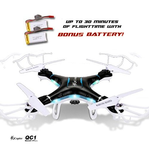QCopter-QC1-Drone-Quadcopter-with-HD-Camera-LED-Lights-Black-Drones-BONUS-BATTERY-2X-FlightTime