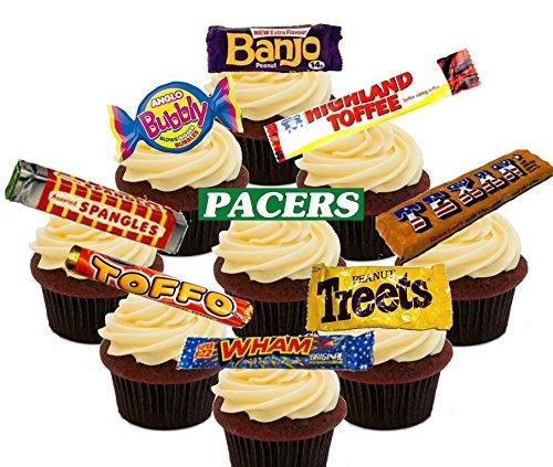 Retro Sweets '70 e '80 da festa, decorazioni commestibili per torta, Stand up topper per Cupcake, motivo: Wafer, Pack of 72