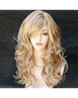 Wonderful Long Wavy Blonde Mix Skin Top Curly Wig Hair