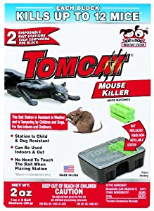 Tomcat Mouse Killer (Kid and Dog Resistant Disposable Mouse Bait Station, 2 Pack)