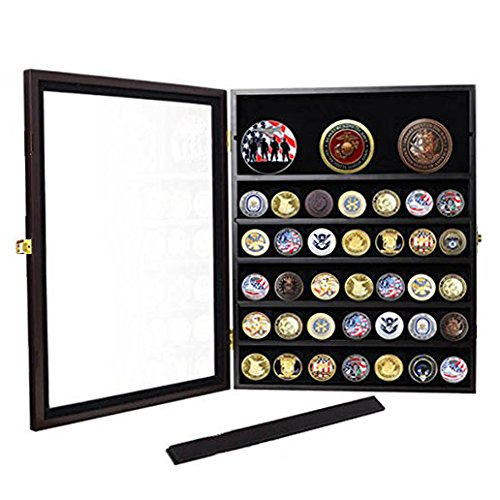 Military Challenge Coin Display Case Cabinet Rack Shadow Box Wood ...
