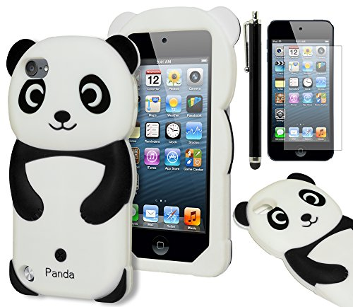 iPod Touch 5 Case, Bastex 3D Black and White Panda Bear Silicone Case for Apple iPod Touch 5, 5th Generation**INCLUDES SCREEN PROTECTOR AND STYLUS** (Panda Bear Phone Case compare prices)