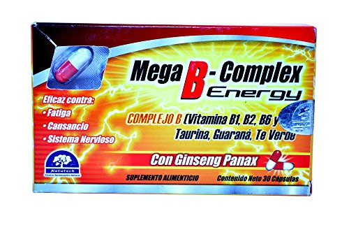 Mega B-Complex 100% Natural Extracts Energy As Panax Ginseng, Guarana And Green Tea