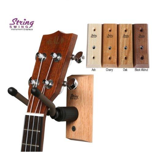 String Swing CC01UK - Ukulele / Mandolin Hardwood Wall Hanger for Home & Studio (Black Walnut Finish)