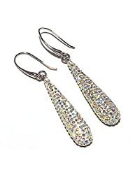 Friendship Day Gifts! Sparkly Teardrop Earrings Silver Plated CZ Earring 11gm
