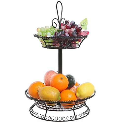 2 Tier Black Metal Mesh Countertop Produce & Fruit Bowl Stand / Decorative Storage Tower Basket - MyGift® (Storage Tower Baskets compare prices)