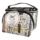 iZak Cosmetic Bags 2 Piece Set 1 Train Case and 1 Cosmetic Bag