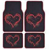 BDK Love Heart Design Carpet Floor Mats for Car SUV - 4 Piece Set, Licensed Prodcuts, Secure Backing
