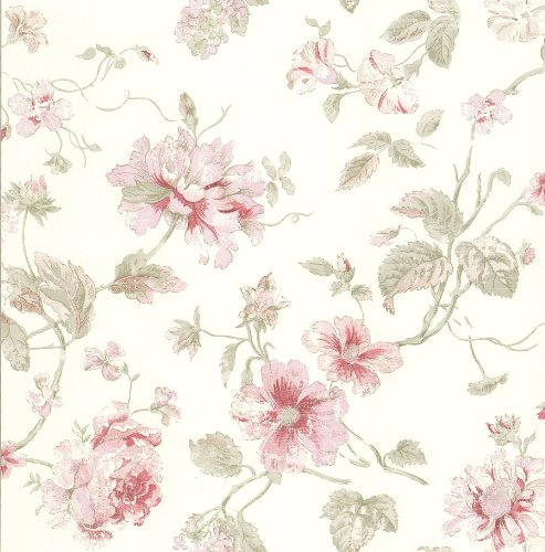 Brewster 428-6605 Madison Florals Maxwell Rose Wallpaper, 20.5-Inch by 396-Inch, Pastel