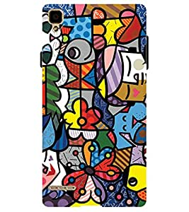 Chiraiyaa Designer Printed Premium Back Cover Case for OPPO F1 (colorful pattern) (Multicolor)
