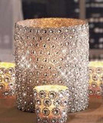 Silver Beaded Sparkling Gems Pillar Candle Holder