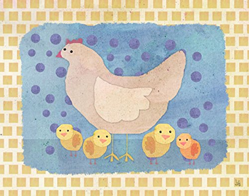 Green Leaf Art Hen and Chickens Canvas Art