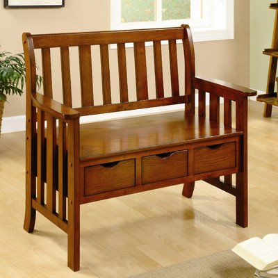Crest Solid Wood Entryway Storage Bench front-234866