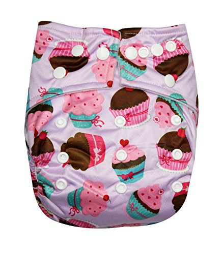 See Diapers Pocket Baby Cloth Diaper 2 Microfiber Inserts Adjustable (Cupcake) - 1
