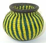 Fine Weave Green & Yellow Stripe Wounaan Basket