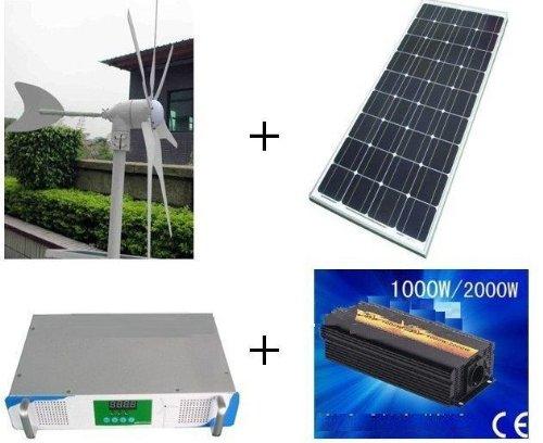 Gowe® 500w hybrid system, 300w wind turbine+100w x2 solar panel+1000w hybrid controller+1000w inverter