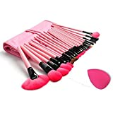 Jmkcoz 24pcs Makeup Set Pink Makeup Brushes Plus 1pc Water Drop Makeup Foundation Sponge Blender Blending Puff Makeup Kit