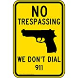 ComplianceSigns Reflective Vinyl No Trespassing Label, 18 x 12 in. with English, Yellow