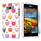 LG Optimus Showtime L86C White Protective Case + Screen Protector By SkinGuardz - Kitty Cat