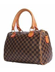 Designer Check Pattern Holdall Style Handbag