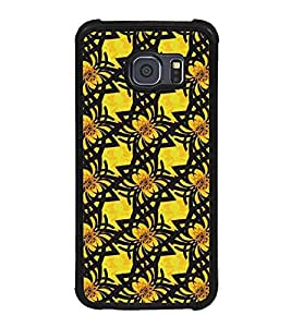 Fuson Premium 2D Back Case Cover Yellow Floral Pattern With Blue Background Degined For Samsung Galaxy S6::Samsung Galaxy S6 G920