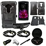 Mstechcorp - Defender Rugged Impact Armor Hybrid Kickstand Cover with Belt Clip Holster Case For LG G Vista VS880 (Verizon / AT&T) - Includes [Wall Charger Data Cable] + [Car Charger Data Cable] + [Touch Screen Stylus] + [2 Data Cables] + [Hands Free Earphone] (H BLACK)
