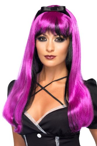 Smiffy's Bewitching Tone Headband Wig Costume, Pink/Black, One Size