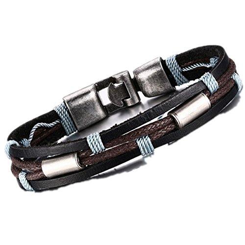MULBA Uomini Vintage cuoio dell'involucro Wristband Rope Bracciale Sl3363(Black Men Bracelet)