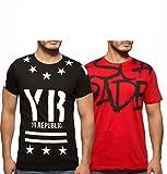 Yo Republic Mens Cotton Tshirt Combo Offer (Pack of 2)(AT-0070-1M_Black_Red_Medium)