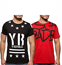 Yo Republic Mens Cotton Tshirt Combo Offer (Pack of 2)(AT-0070-1L_Black_Red_Large)