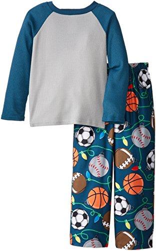 Komar Kids Big Boys' Sports Holiday Lights Thermal Top Pajama Set, Grey, Large